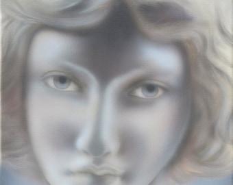 Original Portrait Painting, Alabaster Statue Painting, Canvas Art