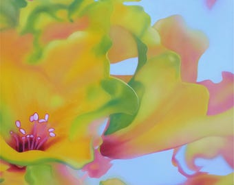 Original Floral Abstract Painting, Yellow, Orange, Pink, Green Flower Painting
