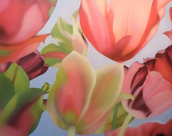 Original Floral Abstract Painting, Pink, Orange, Green, Burgundy Flower Painting, One of a Kind