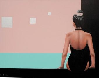 Original Acrylic Painting, Feminine Figurative Retro Swimsuit, Geometric Painting
