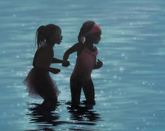 Original Figurative Beach Painting, African American Art, Blue Painting, Children Painting, Sisters Painting, Water Art