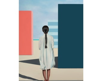 Original Acrylic Painting, Surreal Female Figurative Painting, Origami Cranes