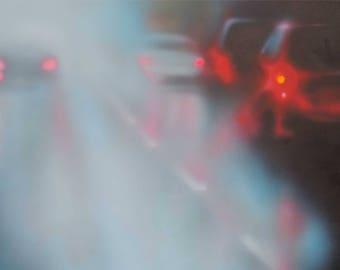 Original Abstract Painting, Rainy Traffic Painting, Pacific Northwest Art