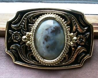 Belt Buckle Silvery Grey Ocean Jasper 30x22mm Cabochon in Two Tone Gold Metal