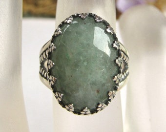 18x13mm Green Aventurine Cabochon Sterling Silver Split Shank Ring with Gallery Wire  Bezel Size 8