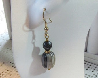 Dangle Earrings in Striped Agate and Blue Tiger's Eye Gemstone Beads Gold Plated