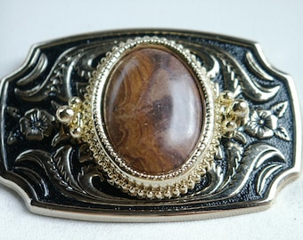 Belt Buckle 30x22mm Burled Brown Jasper Cabochon in Gold and Black Enameled Metal