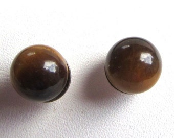 6mm Half Drilled Tigers Eye Sphere Sterling Silver Stud or Post Earrings