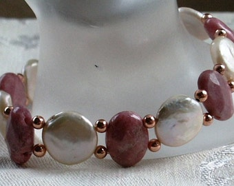 Stretch Bracelet Double Drilled Pearls and Rhodonite with Copper Beads