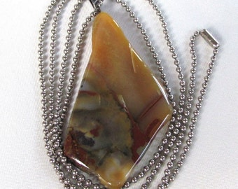 Freeform Multicolor Jasper Pendant on Vintage Stainless Steel Ball Chain Necklace