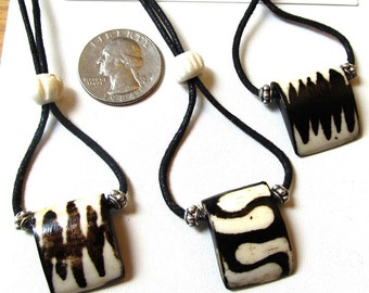 Convertible Length Batiked Bone and Pewter Bead Pendants in Three Styles