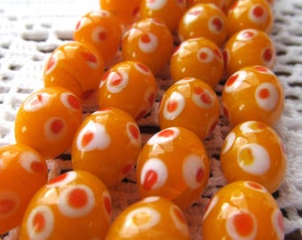 Orange, Red and White Oval Vintage Lamp Work Glass Beads