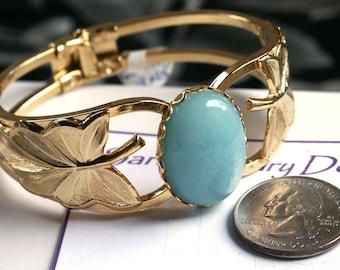 Gold Tone Hinged Cuff Bracelet with 18x25mm Blue Quartz Cabochon