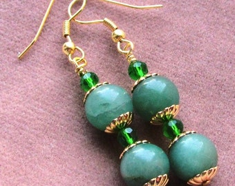 10mm Round Green Aventurine and Crystal Dangle Earrings on Gold Plated Findings