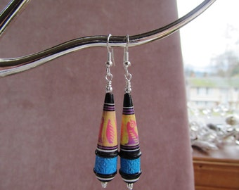 Multicolored Hand Painted Porcelain Beaded Earrings, Inca Design, Silver-plated