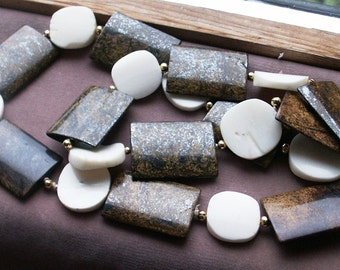 Bronzite Flat Rectangles and Bone Coins Continuous Strand Necklace
