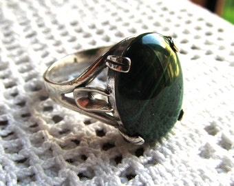 18x13mm Malachite Cabochon Sterling Silver Deco Style Ring in Size 11