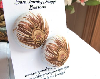 Size 60 Fabric Covered Shank Buttons, Golden Peacock