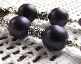 Dangle Earrings 10mm Purple Satin Druk Glass, Balinese Sterling Tube Beads, Amethyst Cabochons