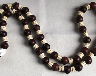 Continuous Strand Necklace of Mahoghany Round Beads in Available in Two Styles