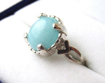 2.78 Carats 8x10mm Oval Robin's Egg Blue Chalcedony Quartz Sterling Silver Ring Size Six and One Half