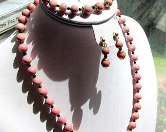 Demi Parure Necklace, Bracelet and Earring Set in Rhodonite and Spinel with Gold Filled Findings