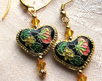 Black and Gold Cloisonne Heart with Butterfly and Flower Gold Plated Dangle Earrings