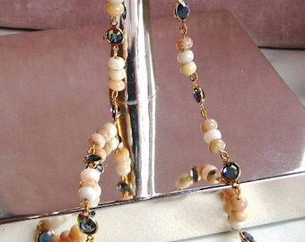 Peruvian Opal Beaded Necklace with Swarovski Crystal Links, 18 Inch Length