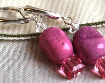 Fuschia Chalk Turquoise Nuggets Swarovski Rose Crystal Cube Earrings Sterling