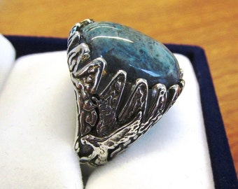 18x13mm Agate Cabochon Eagle Men's or Women's Ring in Sterling Silver, Size 10