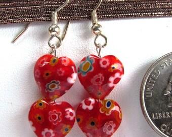 Twin Heart Dangle Earrings of 8mm Millefiore Glass on Silverplated Wires