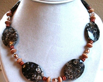 Necklace in Turtle Jasper Ovals, Copper and Wood with Sterling Silver Findings