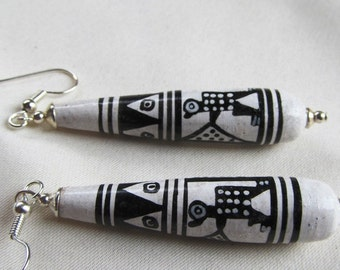 Hand Painted Black and White Porcelain Bead Silver Plated Earrings Incan Figure