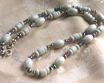 White Ceramic Porcelain and Multicolored Semi Transparent Party Bead Necklaces