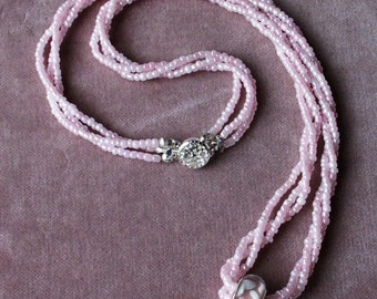 Free-floating Sterling Pink Lampwork Glass Bead and 3-strand Seed Bead Necklace