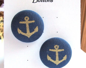Fabric Covered Buttons, Size 45, Gold Anchor on Navy Background