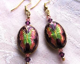 Purple Oval Butterfly Cloisonne Bead with Swarovski Crystals, Dangle Earrings