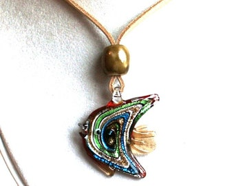 Lampworked Glass Angelfish Focal Pendant 53x44mm with Porcelain Stopper on Suede