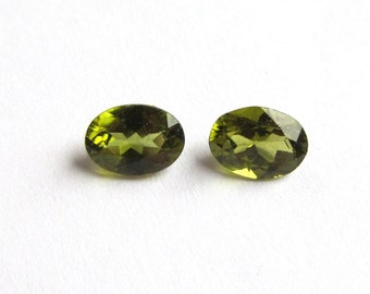 7x5mm Matched Pair Oval Olive Peridot Loose Gemstones of 1.83 ctw