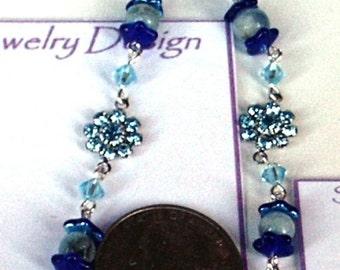 Swarovski Crystals and 6mm Round Aquamarine Beaded Bracelet and Cobalt Blue Caps
