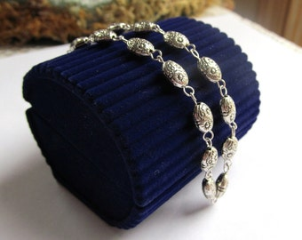 Bracelet of Antiqued-Silver Finished Pewter Oval Beads and Silver Plated Findings