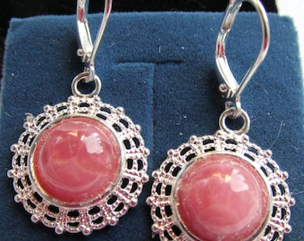 10mm Rhodochrosite Cabochon Silver Plated Filigree Dangle Earrings of 9.525 CTW