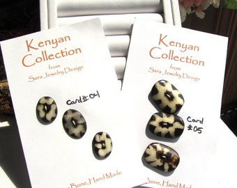 Handmade Kenyan Batiked Bone Buttons Card of Three Oval Shaped Buttons Choose Thick or Thin