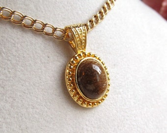 12x10mm Oval Tigers Eye Cabochon Gold Plated Pendant with Double Link Curb Gold Filled Chain