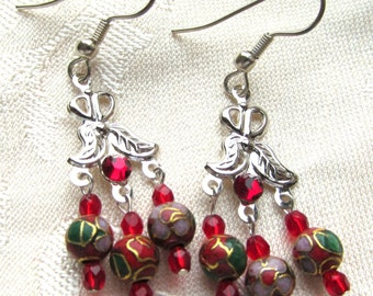 Chandelier Earrings Red Metal Cloisonne and Crystals on Silver-plated Wires