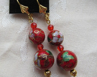 Gold Plated Dangle Earrings of Graduated 10 and 12mm Cloisonne Metal and Crystal Beads