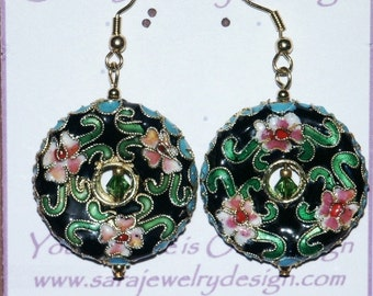 Dangle Earrings featuring Cloisonne Donut Focals and Swarovski Crystals