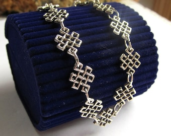 Bracelet of Celtic Knot links and Silver Plated Findings