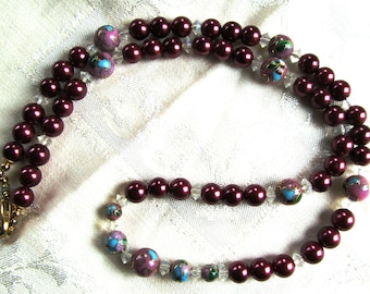 Necklace of Cranberry Druk Glass Pearls, Crystals and Mauve Cloisonne Beads