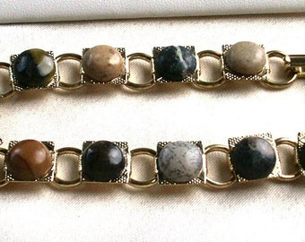 Jasper Palooza 10mm Gold Tone Bracelet with 11 Different 9mm Cabochons